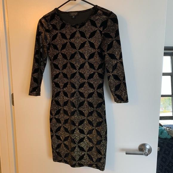 8cffc1deb18f Topshop Dresses   Bodycon Velvet Glitter Dress   Poshmark
